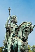 Reiterstatue Baudouin de Constantinople, Mons, Hennegau, Wallonie, Belgien, Europa   equestrian statue Baudouin de Constantinople, Mons, Hennegau, Wallonie, Belgium, Europe