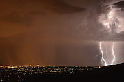 Tucson, Arizona, USA, August 31, 2015, Lightning strikes during a monsoon storm over the Sonoran Desert, Tucson, Arizona, USA.