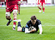 Glasgow Warriors' Henry Pyrgos scores his sides first try<br /> <br /> Photographer Simon King/Replay Images<br /> <br /> Guinness PRO14 Round 19 - Scarlets v Glasgow Warriors - Saturday 7th April 2018 - Parc Y Scarlets - Llanelli<br /> <br /> World Copyright © Replay Images . All rights reserved. info@replayimages.co.uk - http://replayimages.co.uk