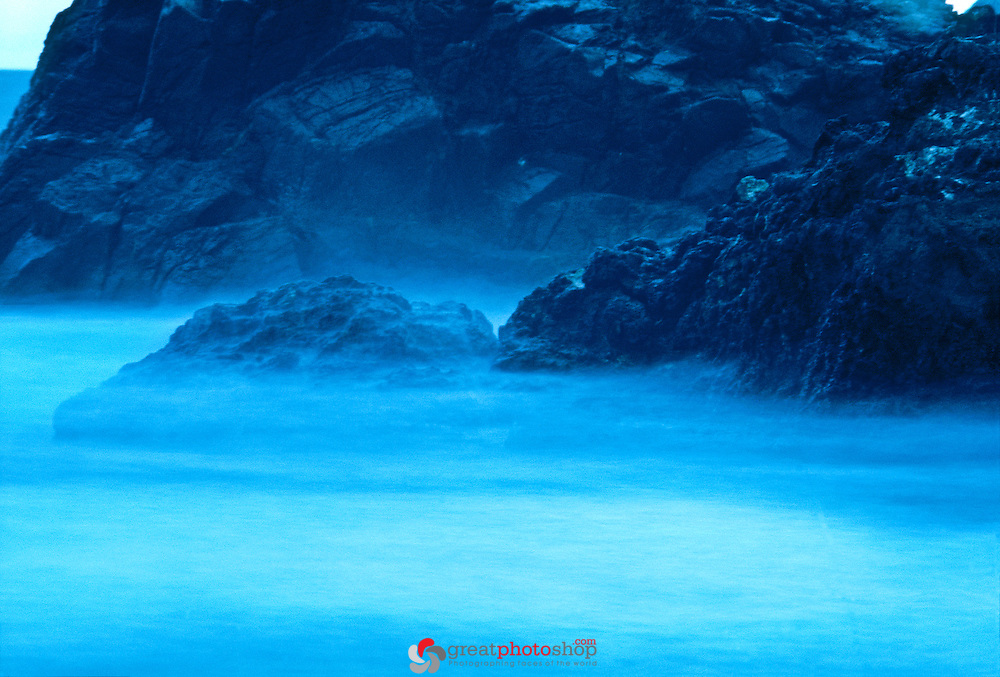 Costa Rica Manuel Antonio Beach At Night With Dreamy Waves In Magneta