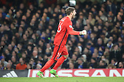 Paris Saint Germain goalkeeper Kevin Trapp (16) celebrating opening goal during the Champions League match between Chelsea and Paris Saint-Germain at Stamford Bridge, London, England on 9 March 2016. Photo by Matthew Redman.