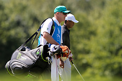 September 2, 2018 - Norton, Massachusetts, United States - Tiger Woods (R) and his caddie Joe LaCava walk the 8th hole during the third round of the Dell Technologies Championship. (Credit Image: © Debby Wong/ZUMA Wire)