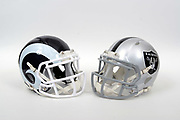 A view of Los Angeles Rams and Oakland Raiders helmets on Thursday, November 2, 2017. (Kirby Lee via AP)