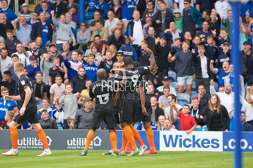 Barnett John Akinde celebrates a penalty in front of Portsmouth fans in the first half penalty in the first half  during the EFL Sky Bet League 2 match between Portsmouth and Barnet at Fratton Park, Portsmouth, England on 24 September 2016. Photo by Ian  Muir.Barnett John Akinde scores a penalty in the first half  during the EFL Sky Bet League 2 match between Portsmouth and Barnet at Fratton Park, Portsmouth, England on 24 September 2016. Photo by Ian  Muir.