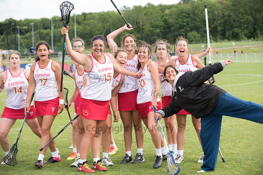 The Spanish team celebrate after beating Colombia at the 2017 FIL Rathbones Women's Lacrosse World Cup at Surrey Sports Park, Guilford, Surrey, UK, 15th July 2017