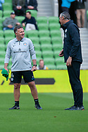 Melbourne City head coach Warren Joyce smiles at the Hyundai A-League Round 6 soccer match between Melbourne City FC and Newcastle Jets at AAMI Park in Melbourne.