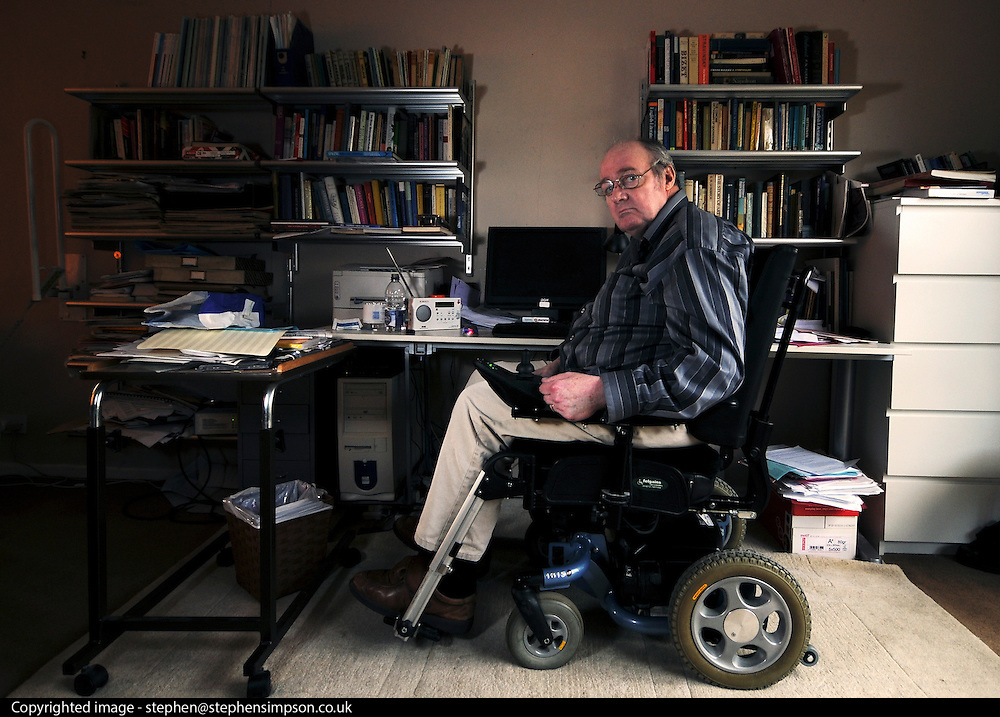 UNITED KINGDOM-SUFFOLK.  Peter Shave sits at his desk from where he tutors for the Open University 13/06/2010. STEPHEN SIMPSON...