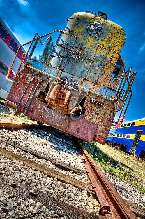 View of and old abandoned locomotive in railway