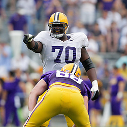 18 April 2009: LSU tackle Ciron Black (70) points out a blocking assignment during the 2009 LSU spring football game at Tiger Stadium in Baton Rouge, LA.