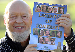 "***STORY IN LINK AT END OF CAPTION*** © Licensed to London News Pictures. 31/05/14. Somerset, UK Glastonbury Festival organiser Michael Eavis holds up the ""Legends of Somerset Calendar"" in which he appears as Mr June. The calendar is raising money for Macmillan Cancer Care. FULL STORY HERE http://www.wellsjournal.co.uk/Make-date-Somerset-Legends-2014/story-20077404-detail/story.html. Photo credit : Jason Bryant/LNP"