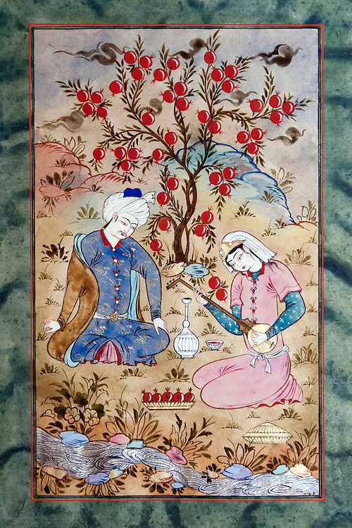 Bukhara, Uzbekistan 23 March 2012. Miniature painted by artist Davlat Toshev. Bukhara of the 16th century attracted skilled craftsman of calligraphy and miniature-paintings making of this region the hub of arts.