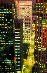 Stock photo of a nighttime aerial view of downtown streets of Houston, Texas
