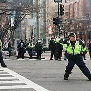 Washington DC, USA, 20 January, 2017. Police throwing flash grenades towards DisruptJ20 protesters, inauguration of Donald Trump.