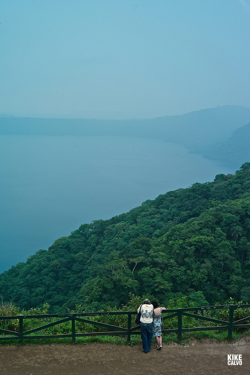 Magnificent observation point of the Apoyo Lagoon from Catarina, with bordering Mombacho volcano.