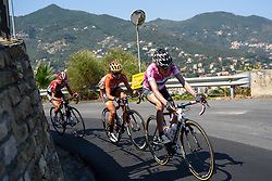 Mara Abbott leads up the final climb at Giro Rosa 2016 - Stage 6. A 118.6 km road race from Andora to Alassio, Italy on July 7th 2016.