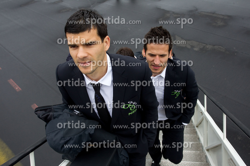 Aleksander Radosavljevic and Zlatan Ljubijankic at departure of Slovenia's National football team to Belfast, Northern Ireland for EURO 2012 Quaifications game between National teams of Slovenia and Northern Ireland, on March 28, 2011, at Airport Edvard Rusjan, Maribor, Slovenia. (Photo by Vid Ponikvar / Sportida)