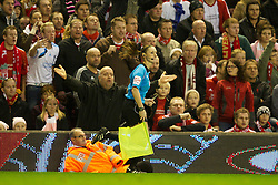 05.11.2011, Anfield Stadion, Liverpool, ENG, Premier League, FC Liverpool vs Swansea City, im Bild Liverpool supporters show they surprise as assistant referee Sian Massey disallows a Liverpool goal // during the premier league match between FC Liverpool vs Swansea City at Anfield Stadium, Liverpool, EnG on 05/11/2011. EXPA Pictures © 2011, PhotoCredit: EXPA/ Propaganda Photo/ David Rawcliff +++++ ATTENTION - OUT OF ENGLAND/GBR+++++
