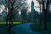 Pathway in Central Park in mid winter New York City,New York USA