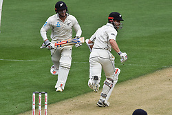 March 23, 2018 - Auckland, Auckland, New Zealand - Kane Williamson (R) and Henry Nichollsv(L) are on the run during Day Two of the First Test match between New Zealand and England at Eden Park in Auckland on Mar 23, 2018. (Credit Image: © Shirley/Pacific Press via ZUMA Wire)