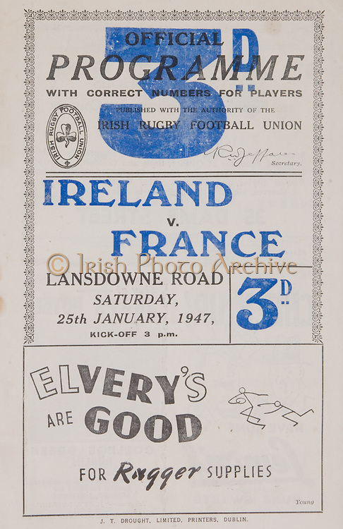 Irish Rugby Football Union, Ireland v France, Five Nations,Landsdowne Road, Dublin, Ireland, Saturday 25th January, 1947,.25.1.1947, 1.25.1947,..Referee- MR J B G Whittaker, ..Score- Ireland 8 - 12 France, ..Irish Team, ..C Murphy, Wearing number 15 Irish jersey, Captain of the Irish team, Full Back, Landsdowne Rugby Football Club, Dublin, Ireland,..B Quinn, Wearing number 14 Irish jersey, Left Wing, Old Belvedere Rugby Football Club, Dublin, Ireland, ..K Quinn, Wearing number 13 Irish jersey, Left Centre, Old Belvedere Rugby Football Club, Dublin, Ireland,  ..J Harper, Wearing number 12 Irish jersey, Right centre, Instonians Rugby Football Club, Belfast, Northern Ireland, ..B Mullan, Wearing number 11 Irish jersey, Right Wing, Clontarf Rugby Football Club, Dublin, Ireland, ..J W Kyle, Wearing number 10 Irish jersey, Stand Off, Queens University Rugby Football Club, Belfast, Northern Ireland,..R Carroll, Wearing number 9 Irish jersey, Scrum, Landsdowne Rugby Football Club, Dublin, Ireland, ..M R Neely, Wearing number 8 Irish jersey, Forward, Collegians Rugby Football Club, Belfast, Northern Ireland, ..C Mullen, Wearing number 7 Irish Jersey, Forward, Old Belvedere Rugby Football Club, Dublin, Ireland, ..J C Daly, Wearing Number 6 Irish Jersey, Forward, London Irish Rugby Football Club, Surrey, England, ..C Callan, Wearing number 5 Irish jersey, Forward, Landsdowne Rugby Football Club, Dublin, Ireland, ..E Keeffe, Wearing number 4 Irish jersey, Forward, Sundays Well Rugby Football Club, Cork, Ireland, ..D Hingerty, Wearing number 3 Irish jersey, Forward, University College Dublin Rugby Football Club, Dublin, Ireland, ..R D Agar, Wearing number 2 Irish jersey, Forward, Malone Rugby Football Club, Belfast, Northern Ireland, ..J W McKay, Wearing number 1 Irish jersey, Forward,  Queens University Rugby Football Club, Belfast, Northern Ireland,..French Team, ..A J Alvarez, Wearing number 15 French jersey, Full Back, U S Tyrossaise Rugby Football Club, France, ..E Pebeyre,