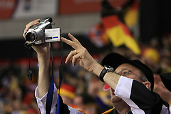 Fan of Germany with a camcorder at ice-hockey match Finland vs Germany (they played in replika jerseys like they were in year 1932) at Preliminary Round (group C) of IIHF WC 2008 in Halifax, on May 03, 2008 in Metro Center, Halifax, Canada. (Photo by Vid Ponikvar / Sportal Images)Won of Finland 5:1.
