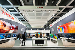 Toshiba stand with television display at 2016  IFA (Internationale Funkausstellung Berlin), Berlin, Germany