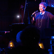 "November 19, 2012 - New York, NY : Singer-songwriter Sandy Stewart performs her routine ""Something to Remember"" at Feinstein's at Loews Regency in Manhattan on Monday evening. She is accompanied by her son, pianist Bill Charlap (left), and bassist Peter Washington (not pictured). CREDIT: Karsten Moran for The New York Times"