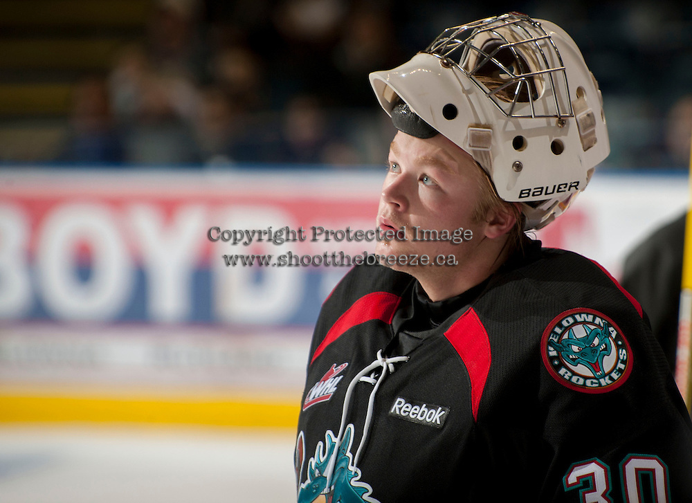 KELOWNA, CANADA - OCTOBER 18:  Jordon Cooke #30 of the Kelowna Rockets stands on the ice as the Prince George Cougars visit the Kelowna Rockets on October 18, 2012 at Prospera Place in Kelowna, British Columbia, Canada (Photo by Marissa Baecker/Shoot the Breeze) *** Local Caption ***