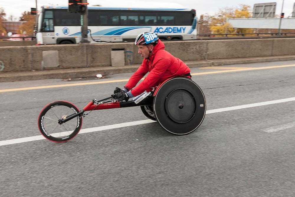 ING New York City Marathon: wheelchair athletes at start line