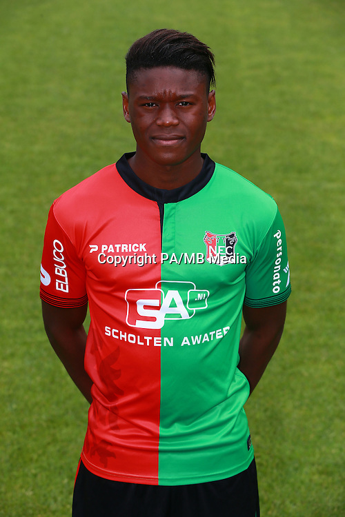Anthony Limbombe during the team presentation of NEC Nijmegen on July 08, 2015 at the Goffert stadium in Nijmegen, The Netherlands