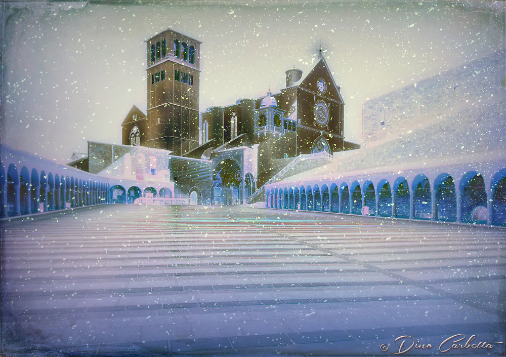 """""""Midnight peace of the Papal Basilica of Saint Francis of Assisi - Snow White""""…<br /> <br /> Upon arrival early that day in Assisi, I began taking photos the second I parked at Hotel Giotto just inside the walls in the foothills of Assisi. Perhaps Saint Francis arranged the dramatically perfect skies and coordinated every encounter. Beginning at the Basilica of Saint Frances, every second of the climb to the top of the mountain to the fortress Rocca Maggiore, a new surprise awaited around every corner.  Never stopping for lunch or dinner, I continued to photograph new images well past sundown.  Traversing the narrow steps and strada back down to the bottom of the mountaintop to my hotel, the walk seemed a bit less strenuous and I felt a sense of gratitude and completion of my day long journey.  However, the very quiet Assisi seemed to have fallen into a deep slumber in the early nighttime leaving all the restaurants closed for the night.  Pleading with the hotel manager, she desperately arranged a late dinner at one of the most iconic restaurants in Assisi, La Locanda Del Cardinale, which was built over an ancient Roman settlement dating from the first century B.C., with glass floors to view the mosaics below.  Walking back at midnight to the hotel, the peaceful Assisi continued to call out.  As the serene, quiet Basilica of Saint Francis stood majestically and glowed in the midnight skies, one could not help but to acquiesce to its mystical yearning for just a few more memorable portraits in the cool dew of the early morning air."""