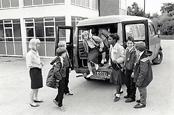 Minibus at Elliott Durham Secondary school, Nottingham, UK. 1988. The school is now part of Nottingham Academy