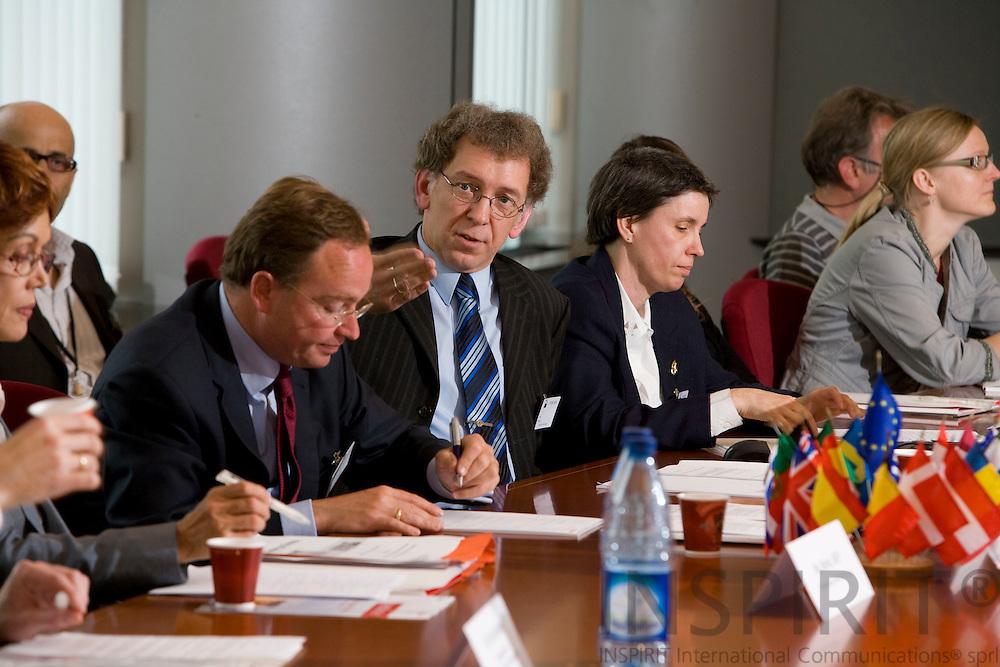BRUSSELS - BELGIUM - 27 MAY 2008 -- Conference on CO2-reduction target in 2020 for waste --  From left Christian Böllhoff, CEO, Prognos AG, Holger Alwast, Prognos and Dr. Bärbel Birnstengel, prognos.  Photo: Erik Luntang
