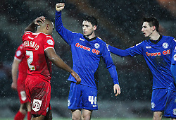 Ian Henderson celebrates Rochdale's third goal  - Photo mandatory by-line: Matt McNulty/JMP - Mobile: 07966 386802 - 17.01.2015 - SPORT - Football - Rochdale - Spotland Stadium - Rochdale v Crawley Town - Sky Bet League One