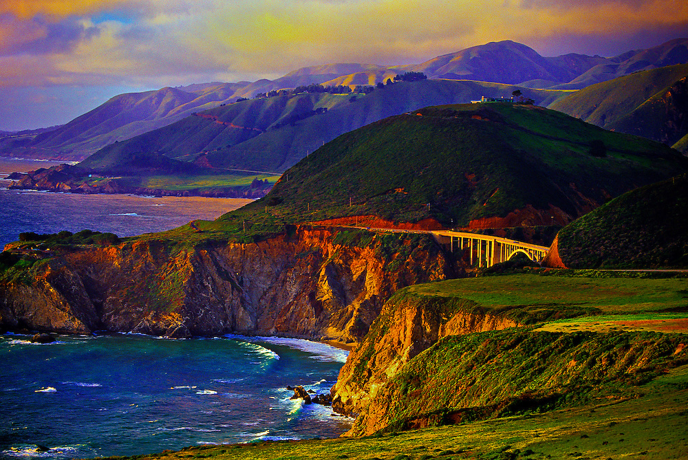 Looking north to the Bixby Bridge (714 feet high), Highway One, near Big Sur, California USA