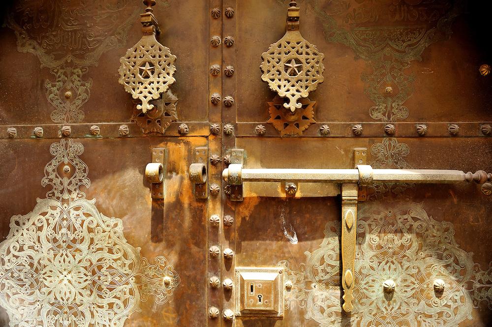 Detail of Riad door in the Medina of Marrakesh