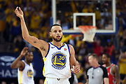 May 26, 2018; Oakland, CA, USA; Golden State Warriors guard Stephen Curry (30) reacts during the second quarter against the Houston Rockets in game six of the Western conference finals of the 2018 NBA Playoffs at Oracle Arena.