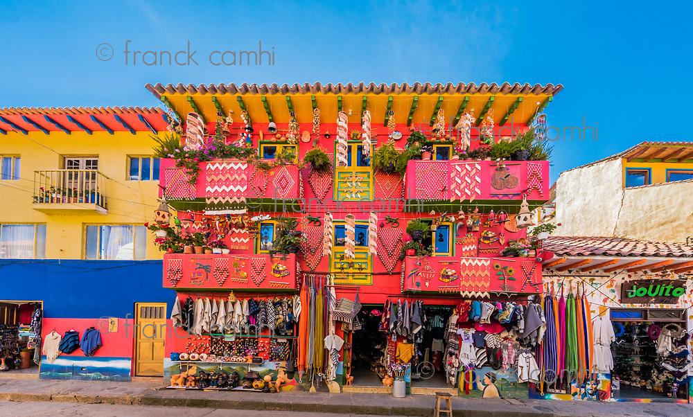 Villa De Leyva, Colombia  - February 7, 2017 : colorful traditional house souvenir gift shop Villa de Leyva Boyaca in Colombia South America