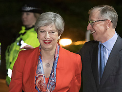 © Licensed to London News Pictures. 09/06/2017. Maidenhead, UK. Prime Minister Theresa May and her husband Philip arrive at her constituency count at the Magnet Leisure Centre in Maidenhead. Polling stations are closing at 10pm with TV exit poll predicting a hung parliament. Photo credit: Peter Macdiarmid/LNP