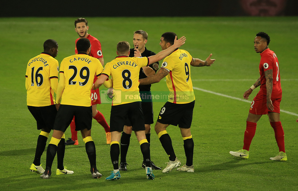 1 May 2017 - Premier League - Watford v Liverpool - Watford players surround Referee Craig Pawson - Photo: Marc Atkins / Offside.