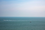 Two boats sail in opposite directions in the calm waters of The English Channel photographed from Folkestone, Kent, England, United Kingdom. (photo by Andrew Aitchison / In pictures via Getty Images)