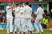 England & Nottinghamshire bowler Stuart Broad  celebrates the wicket of Sri Lanka Captain Angelo Mathews  during day 3 of the first Investec Test Series 2016 match between England and Sri Lanka at Headingly Stadium, Leeds, United Kingdom on 21 May 2016. Photo by Simon Davies.