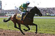 Uknowhatimeanharry and jockey Barry Geraghty head for the start of the 3.40pm The Ryanair Stayers' (Registered as the Liverpool) Hurdle (Grade 1) during the Grand National Meeting at Aintree, Liverpool, United Kingdom on 6 April 2019.
