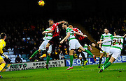 Oxford Utd's Kemar Roofe header goes wide during the Sky Bet League 2 match between Yeovil Town and Oxford United at Huish Park, Yeovil, England on 28 December 2015. Photo by Graham Hunt.