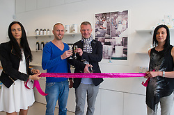 © London News Pictures. 15/05/15. London, UK. Jiri Stabla CO of Carun UK and Michal Takac, MD of Carun UK open the UK's first cannabis pharmacy, Twickenham, West London.Carun UK, which will be based in Twickenham, London, aims to 'harness the healing super-powers of hemp' which is claims is the 'ultimate skin saviour and well-being booster'.  Photo credit: Laura Lean/LNP
