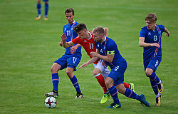 RHYL, WALES - Monday, September 4, 2017: Wales' Jack Vale is tackled by Iceland's Torfi T.Gunnarsson during an Under-19 international friendly match between Wales and Iceland at Belle Vue. (Pic by Paul Greenwood/Propaganda)<br /> Kristófer Ingi Kristinsson, Arnór Sigurðsson