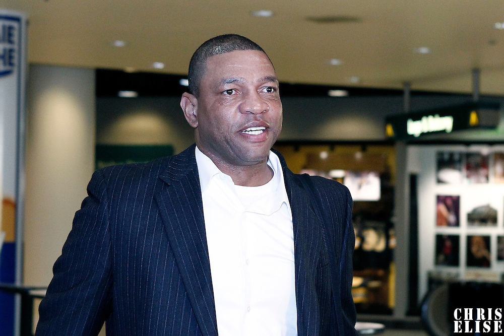 07 June 2012:  Boston Celtics head coach Doc Rivers arrives at the TD Garden for Game 6 of the Eastern Conference Finals playoff series, at the TD Banknorth Garden, Boston, Massachusetts, USA.