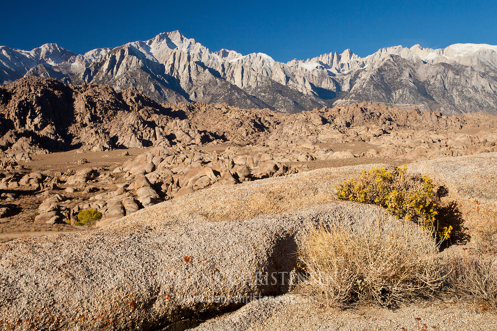 The jagged peaks of the eastern Sierra provide a backdrop to the dynamic landscape of Alabama Hills