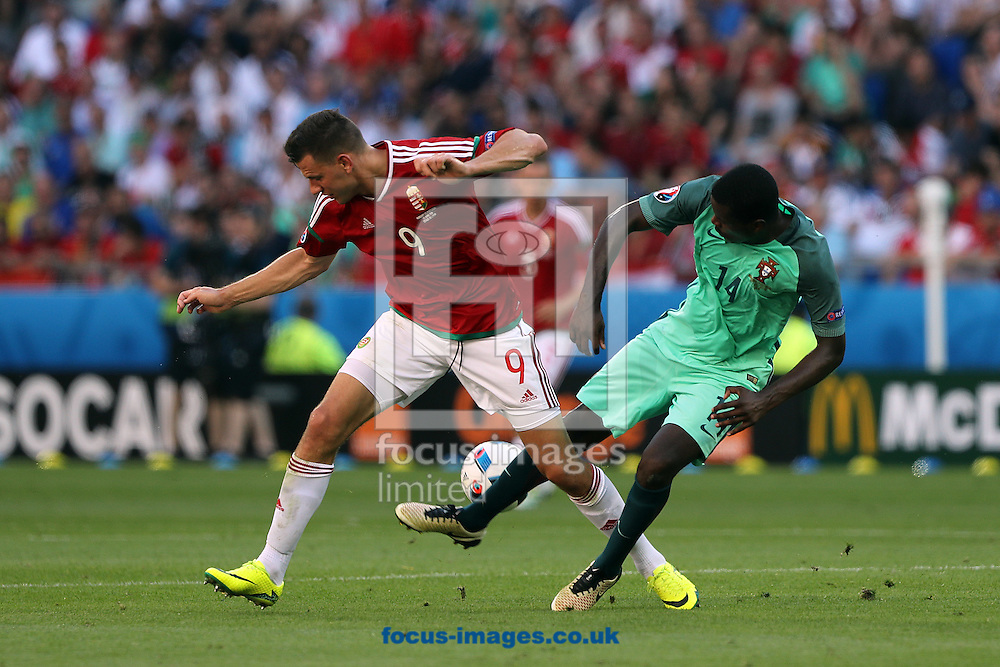 William Carvalho of Portugal and Adam Szalai of Hungary during the UEFA Euro 2016 match at Stade de Lyons, Lyons<br /> Picture by Paul Chesterton/Focus Images Ltd +44 7904 640267<br /> 22/06/2016