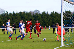 BLACKBURN, ENGLAND - Saturday, January 6, 2018: Liverpool's Rafael Camacho scores the first goal during an Under-18 FA Premier League match between Blackburn Rovers FC and Liverpool FC at Brockhall Village Training Ground. (Pic by David Rawcliffe/Propaganda)